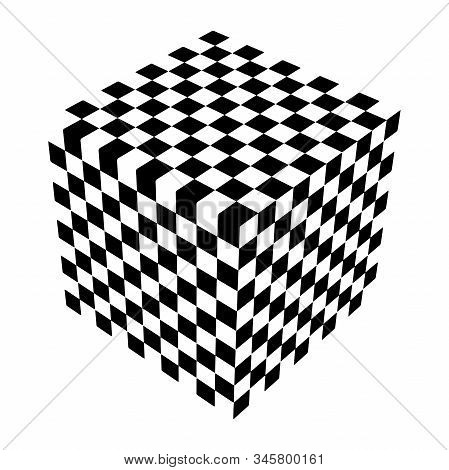 Optical Illusion Cube. Chess Board. Abstract 3D Black And White Illusions. Horizontal Lines Stripes