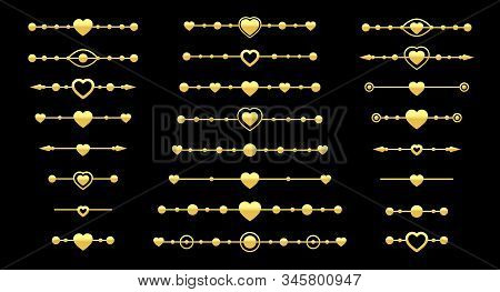 Gold Dividers, Metal Effect With Heart And Arrow Elements. Divider For Valentine Card Border, Book P