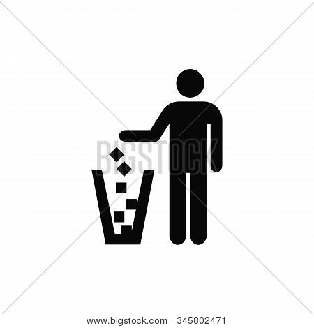 Recycle Icon, Man Throwing Trash Into Dust Bin Vector