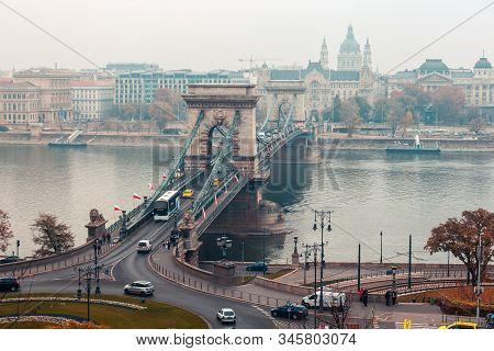 Budapest, Hungary 10 November 2018 - Szechenyi Chain Bridge On The Danube River