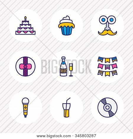 Vector Illustration Of 9 Banquet Icons Colored Line. Editable Set Of Birthday Cake, Muffin, Party Fl