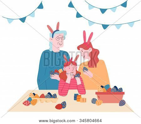 Grandmother, Mother And Little Girl Wearing Rabbit Ears Painting Eggs For Spring Holiday. Happy Fami