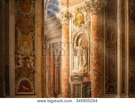 Vatican - November 11, 2018: Inside The St. Peters Basilica, Rome, Italy. St Peters Church San Pietr