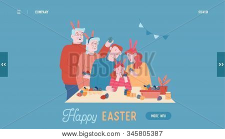 Happy Family Prepare For Easter Holiday Celebration Website Landing Page. Parents, Grandparents And