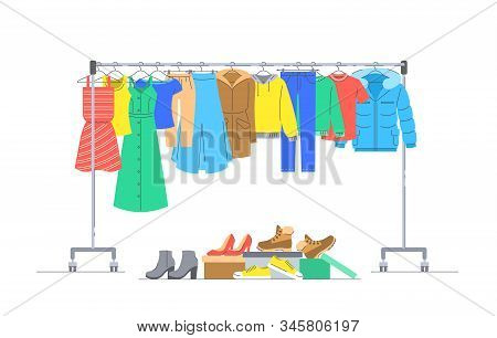 Men And Women Casual Clothes On Hanger Rack. Boxes With Shoes. Flat Lines Vector Illustration. Male