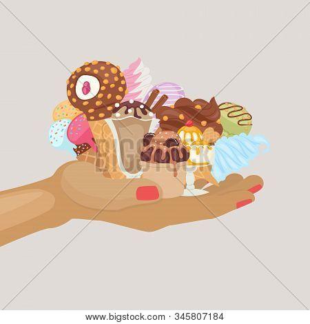 Assortment Of Icecream Waffle Cones With Scoops Of Chocolate, Vanilla Ice Cream Dessert With Nuts, J