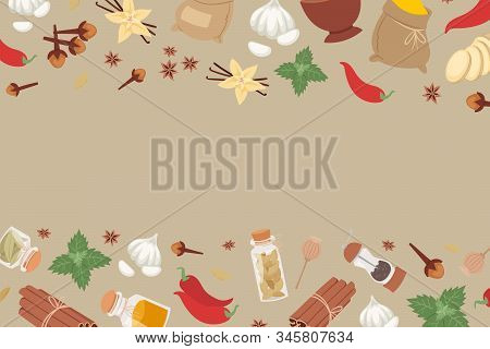 Indian And Herbs From India Flavor Ingredient For Food Condiments Cartoon Vector Illustration Banner