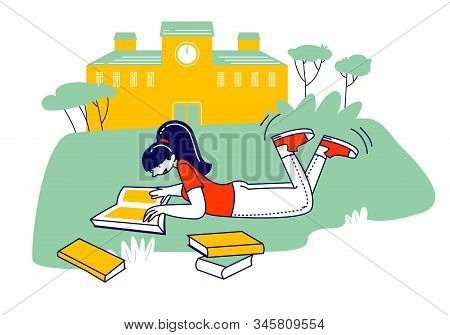 Education Concept, Girl Lying On Grass Reading Book In School, College Or University Front Yard. Stu