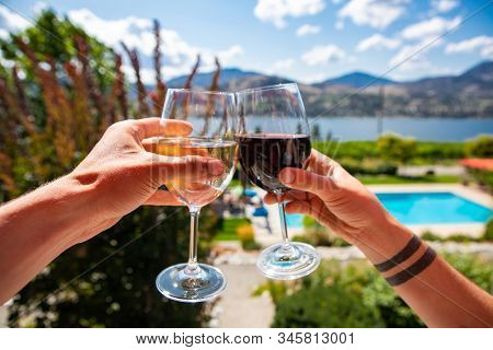 Okanagan Valley Wine Tasting Tour, Wineries Visit During Summer And Spring Vacations Concept, Man An