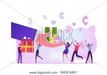 Bonus Card, Loyalty Program, Earn Reward, Redeem Gift, Perks Concept. Huge Hand Giving Gift Boxes To