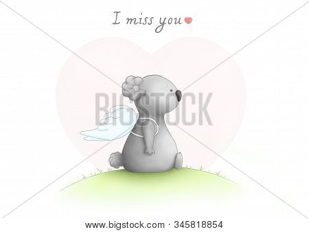 Cute Hand Drawn Sad Koala Bear Drawing, Sitting Wearing Angel Wings, Looking Sad, With Text I Miss Y