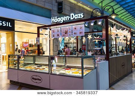 Haagen Dazs Ice Cream Shop Located In A Shopping Mall In Bucharest, Romania, 2020