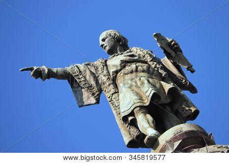 Barcelona, Spain - September 29th, 2019: Christopher Columbus Monument Near La Rambla Of Barcelona.