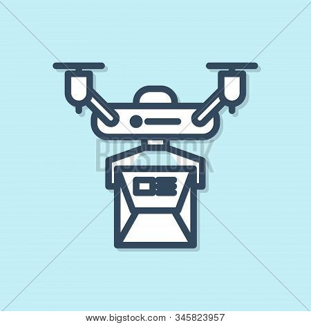 Blue Line Drone Delivery Concept Icon Isolated On Blue Background. Quadrocopter Carrying A Package.