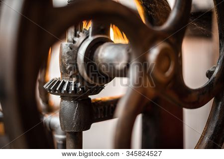 Mechanic Picture. Close-up Cogs Of Sharp Gear With Rust And Dusty Textured. Unused Parts From Machin