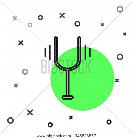Black Line Musical Tuning Fork For Tuning Musical Instruments Icon Isolated On White Background. Vec