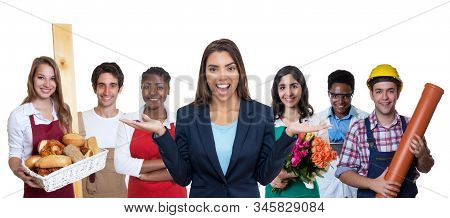 Pretty Latin American Business Trainee With Group Of International Apprentices Isolated On White Bac