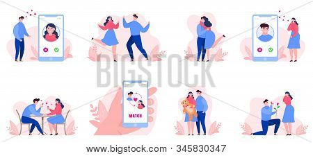 Online Dating Vector Illustration Collection Set Isolated. People Man, Woman Or Girl Date On Interne