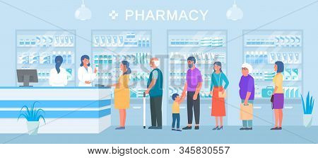 Pharmacy, People Medicines Buyers Queue, Smiling Pharmacist Seller Vector Illustration. Different Ph