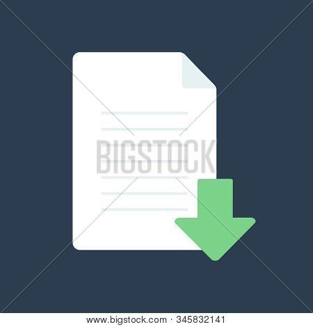 Vector Download Document Icon. Icon Download Document, Pdf File Upload, Get Data Sheet, Vector Arrow
