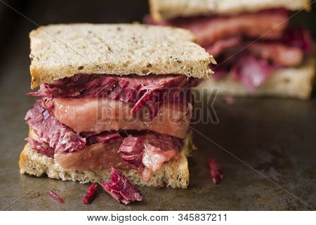 Close Up Of Rustic American Reuben Corned Beef Sandwich