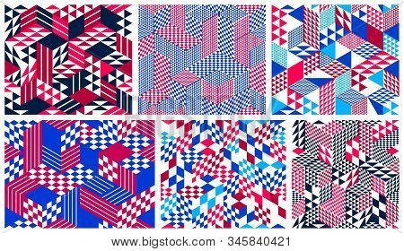 Geometric 3D Seamless Patterns With Cubes, Rhombus And Triangles Boxes Blocks Vector Backgrounds Set