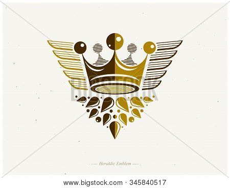 Majestic Crown Vector Illustration. Heraldic Decorative Logo. Retro Logotype Isolated On White Backg