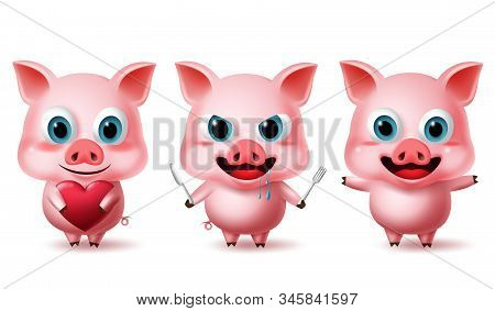 Pig Standing Characters Vector Set. Animal Pigs Character In Cute Expressions Of  Hungry, Happy And