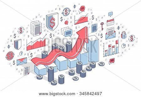 Success And Income Increase Concept, Growth Chart Stats Bar With Cash Money Stack Isolated On White.