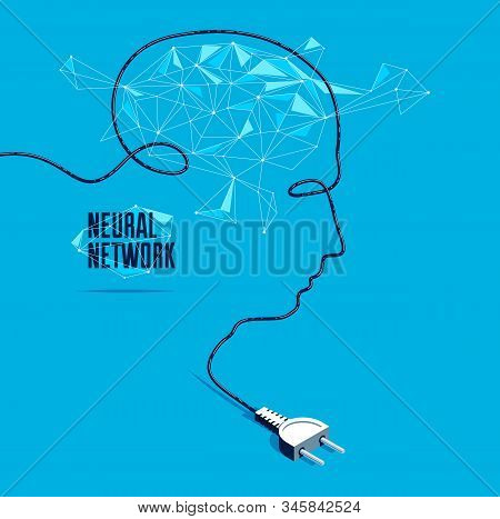Neural Network Artificial Intelligence Vector Concept With Plug In A Shape Of Man Head Silhouette An