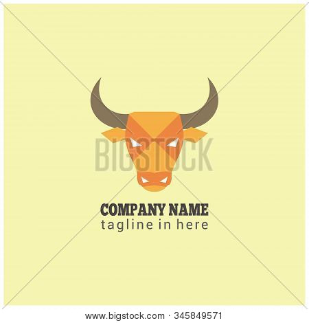 Stock Vector Head Horn Bull Angry Fierce Expression Icon Business Company Logo Design