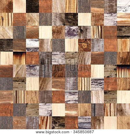 Seamless background with square wooden patterns of different colors. Endless texture can be used for wallpaper, pattern fills, web page background, surface textures