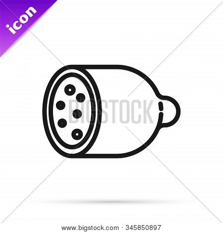 Black Line Salami Sausage Icon Isolated On White Background. Meat Delicatessen Product. Vector Illus