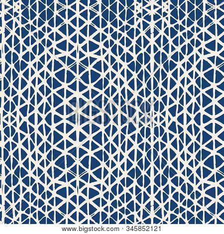 Watercolor Shoji Design. Kimono Tile.  Batik Tie Dye Border. Stencil Japan Background. Indigo And Wh