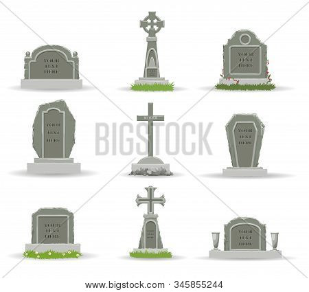 Cartoon Gravestones. Scary Grave Stones For Creepy Death Evil Ghost And Cemetery Funeral, Christian