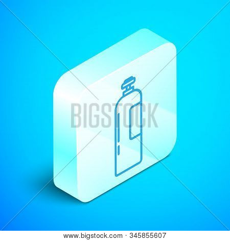 Isometric Line Industrial Gas Cylinder Tank For All Inert And Mixed Inert Gases Icon Isolated On Blu