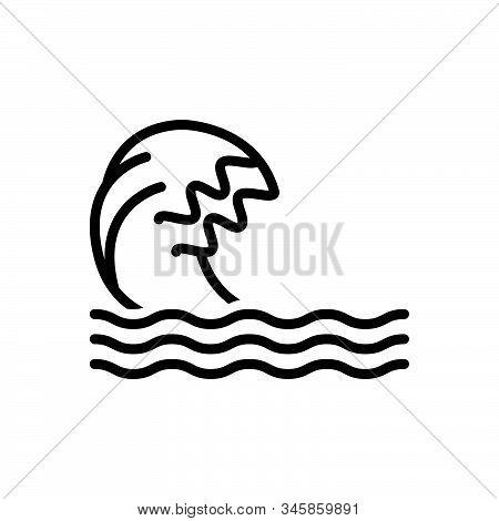 Black Line Icon For Wave Ripple Backwash Surf Flood