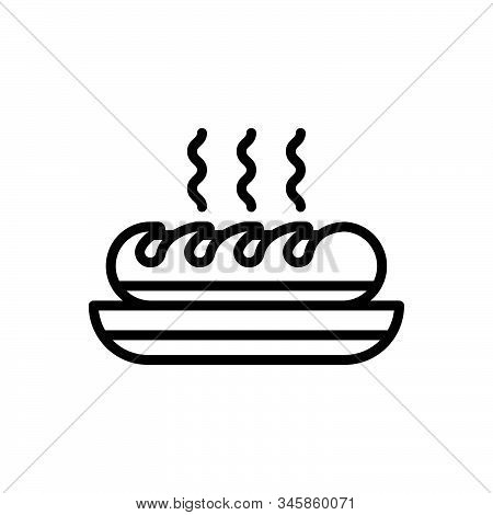 Black Line Icon For Bread Food Edible Eatable Comestible Pabulary