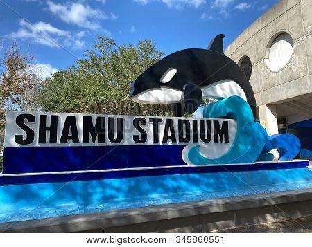 Orlando,fl/usa-1/17/20: The Shamu Stadium Sign Outside Of The Ampitheater At Seaworld Orlando, Flori
