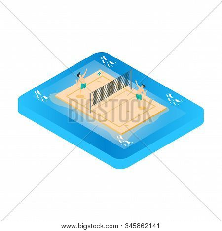 Beach Volley Ball Concept. Vector Isometric Illustration, Suitable For Diagrams, Other Graphic Relat