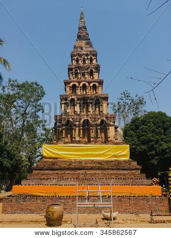 Old Pagoda In Temple Northern Of Thailand, Ancient And Lanna Style