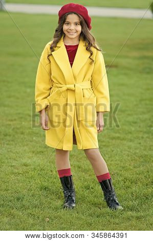 Child In Warm Clothes. Feeling Cozy And Comfortable. Fancy Coat. Classic Coat Does Not Have To Be Bo