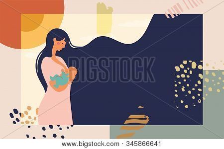 Poster Mother Feeds The Baby With Breast Milk. Modern Collage On Abstract Background. Bright Concept