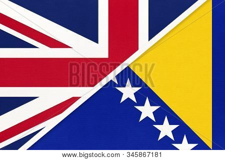United Kingdom Of Great Britain And Ireland Vs Bosnia And Herzegovina Or Bih National Flag From Text
