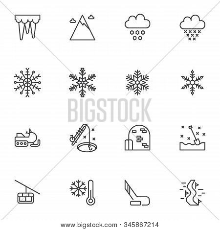 Winter Season Line Icons Set. Linear Style Symbols Collection, Outline Signs Pack. Vector Graphics.