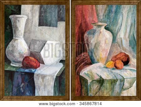 Two Paintings By The Artist In A Wooden Frame. Still Life Painted With Art Paints. Jug And Fruits On