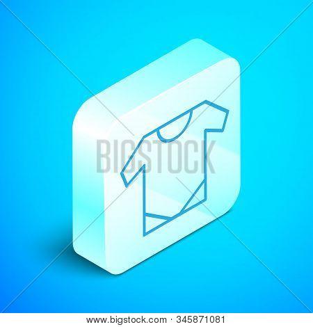 Isometric Line Baby Onesie Icon Isolated On Blue Background. Baby Clothes Symbol. Kid Wear Sign. Sil