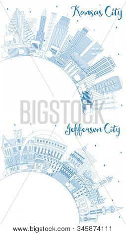 Outline Jefferson City and Kansas City Missouri Skylines with Blue Buildings and Copy Space. Business Travel and Tourism Concept with Modern Architecture. Cityscapes with Landmarks.