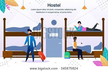 Stay In Hostel Dormitory Trendy Flat Vector Advertising Banner, Promo Poster Template. Multinational