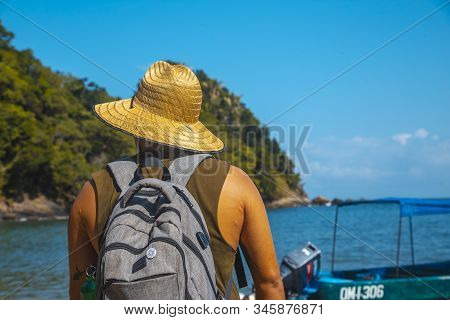 Tela, Honduras »; January 2020: A Young Local With A Hat On The Beach Of Puerto Caribe In Punta De S